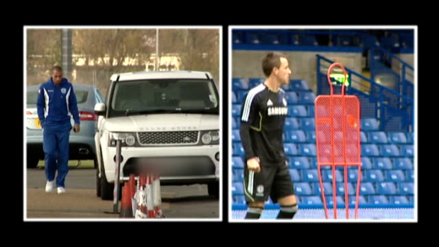 qpr v chelsea buildup dominated by ferdinand and terry situation england london harlington / stamford bridge qpr defender anton ferdinand walking... - スタンフォードブリッジ点の映像素材/bロール