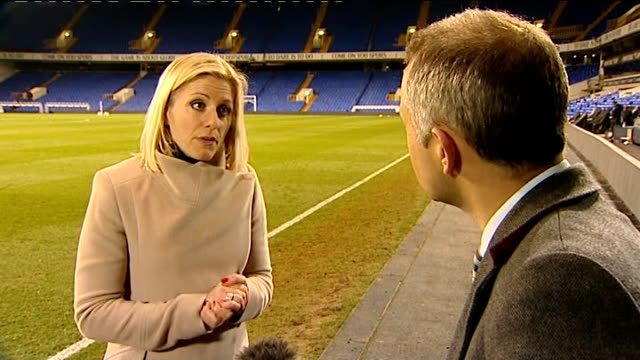 fabrice muamba collapses on pitch rebecca lowe interview sot cpr was administered to him - fabrice muamba stock videos and b-roll footage