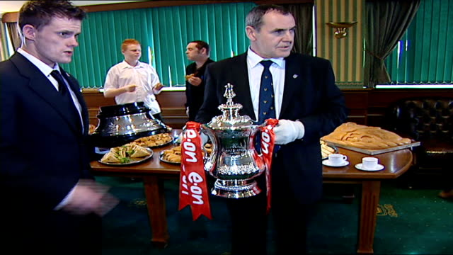 preview int man in white gloves stands holding fa cup at social function - soccer glove stock videos and b-roll footage