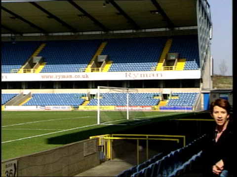 millwall v sunderland build-up; itn england: london: millwall: the new den: ext gv empty stadium i/c - 準決勝点の映像素材/bロール