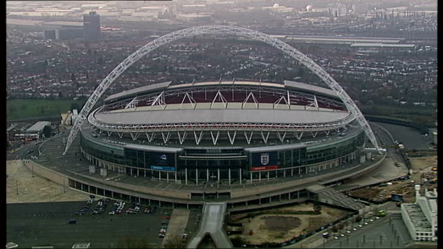 millwall v wigan preview; r29111007 / wembley: air view of wembley stadium - semifinal round stock videos & royalty-free footage