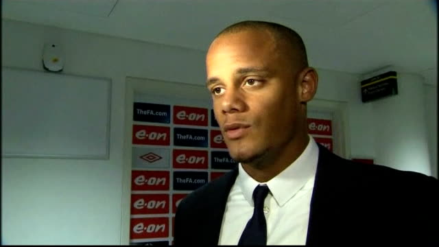 manchester city vs manchester united int vincent kompany interview sot manchester city fans celebrating sot vox pops reporter to camera pan to... - semifinal round stock videos & royalty-free footage