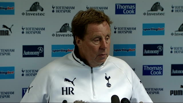 tottenham hotspur v stevenage london white hart lane int harry redknapp press conference sot we know how tough these games can be - stevenage stock videos and b-roll footage