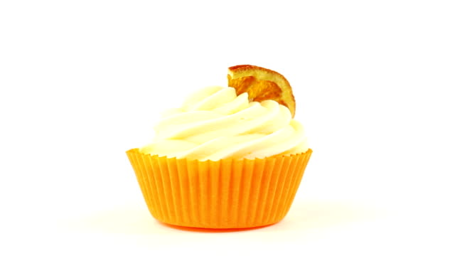 Cupcake with a piece of orange