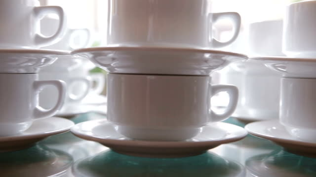 cups in a row - large group of objects stock videos & royalty-free footage