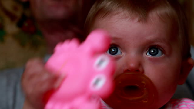 curious baby looking up - pacifier stock videos and b-roll footage