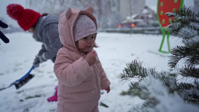 vídeos de stock e filmes b-roll de curious toddler girl eating the snow, from the pinaceae tree - pinaceae