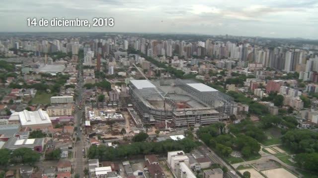 curitiba puede quedar fuera del mundial2014 por atrasos en estadio segun la fifa voiced curitiba con un pie afuera del mundial20 on january 21 2014... - südbrasilien stock-videos und b-roll-filmmaterial