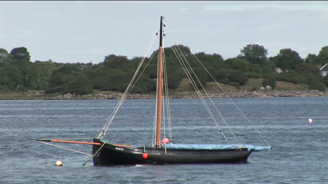 stockvideo's en b-roll-footage met ms, currach boat anchored in lake, galway county, ireland - anchored