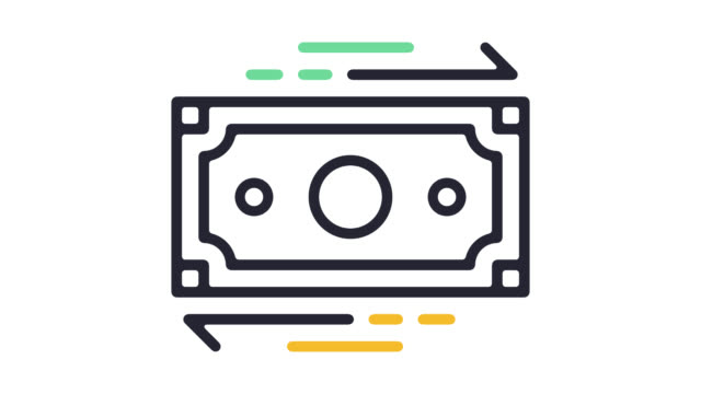 currency exchange line icon animation with alpha - line icon stock videos & royalty-free footage