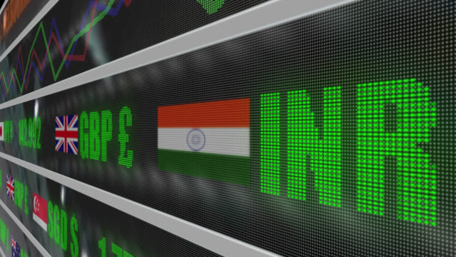 4k currency exchange rates and line graph on led ticker - indian flag stock videos & royalty-free footage