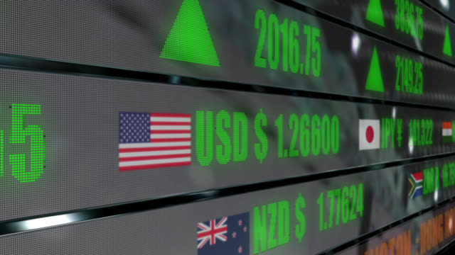 4k currency exchange rates and stock prices on led ticker - euro symbol stock videos and b-roll footage