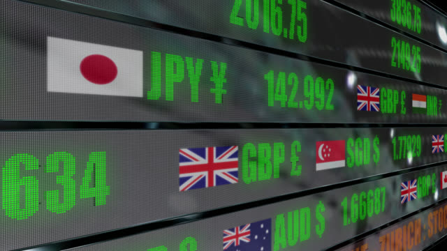 4k currency exchange rates and stock prices on led ticker - trading screen stock videos & royalty-free footage