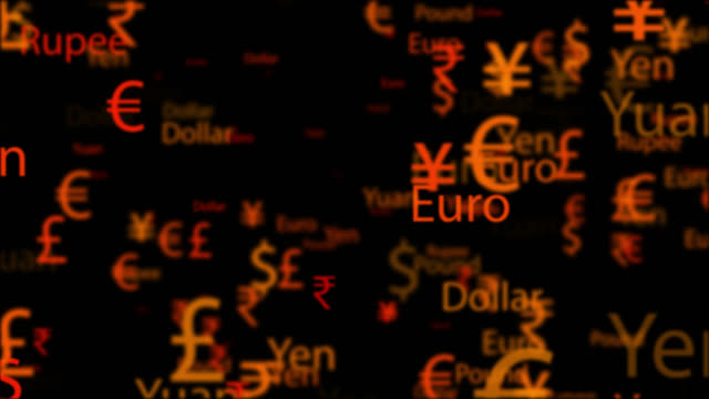 4k currency names and symbols moving in seamless loop - johnfscott stock videos & royalty-free footage