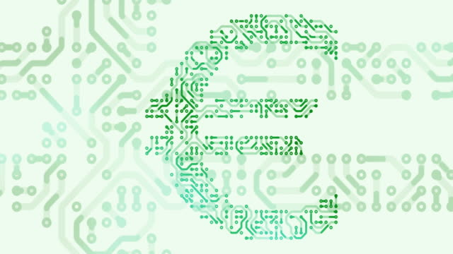Currency symbol of euro with circuit board loop animation