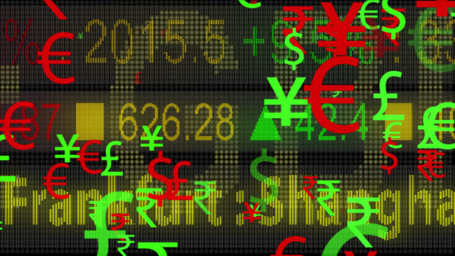 vidéos et rushes de symboles monétaires 4k se déplaçant avec un fond de ticker de led - symbole du yen