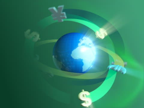 currency symbols spinning around a globe - money makes the world go around stock videos and b-roll footage