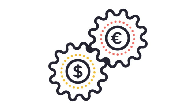 currency trade line icon animation - currency symbol stock videos & royalty-free footage