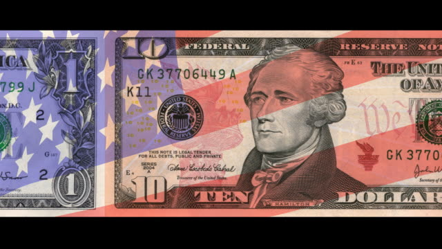 US Currency with USA Flag