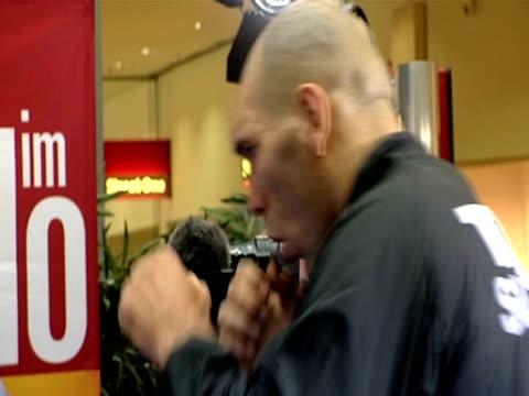 vídeos y material grabado en eventos de stock de current world heavyweight boxing champion nikolai valuev displays his skills to press ahead of fight with british contender david haye nuremberg;... - number 9