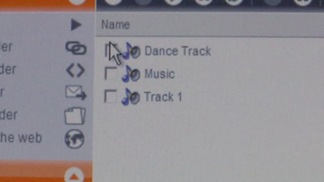 CU Cursor clicking on 'Dance Track' checkbox on computer screen and downloading music/ Brooklyn, NY