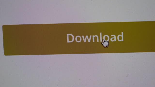 """vídeos de stock, filmes e b-roll de a cursor clicks on a yellow """"download"""" button on a computer screen. - download"""