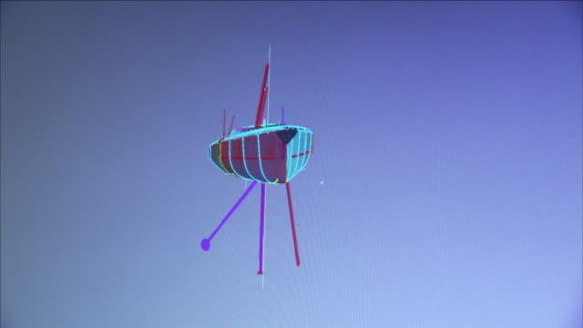 vídeos y material grabado en eventos de stock de a cursor moves on a computer-generated image showing  the design for a ship with underwater stabilizers. - cursor