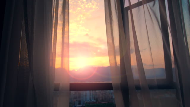 curtain at the window of room in the morning - curtain stock videos & royalty-free footage