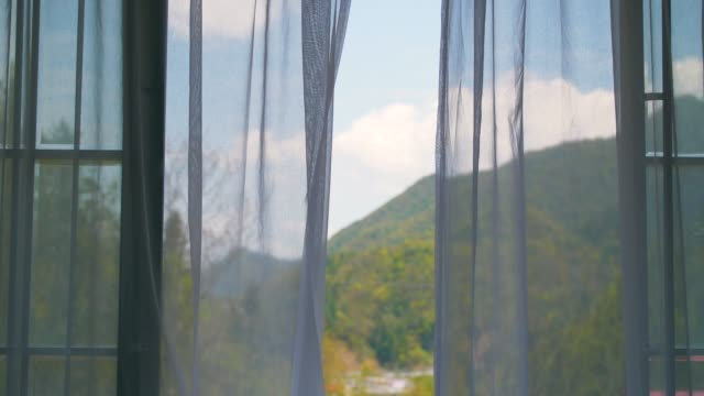 curtain blowing - curtain stock videos & royalty-free footage