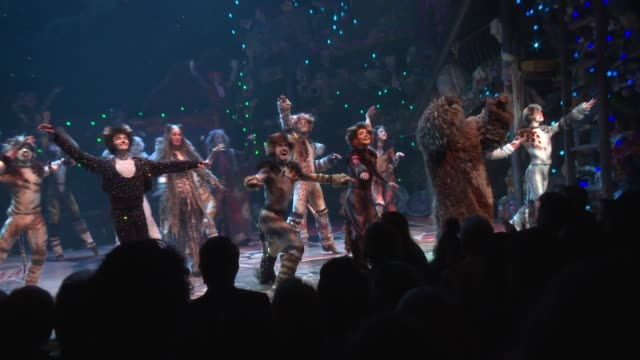 performance curtain call at broadway revival of andrew lloyd weber's cats opening at neil simon theatre on july 31 2016 in new york city - ブロードウェイ点の映像素材/bロール