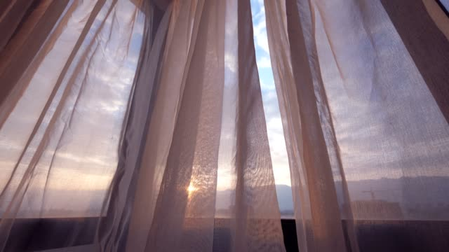 curtain in the morning - blowing stock videos & royalty-free footage