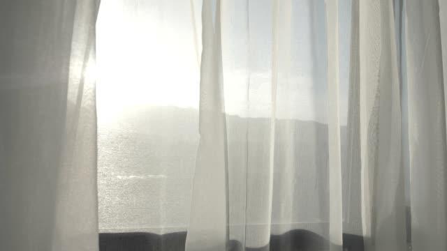 curtain with beautiful sunlight - curtain video stock e b–roll