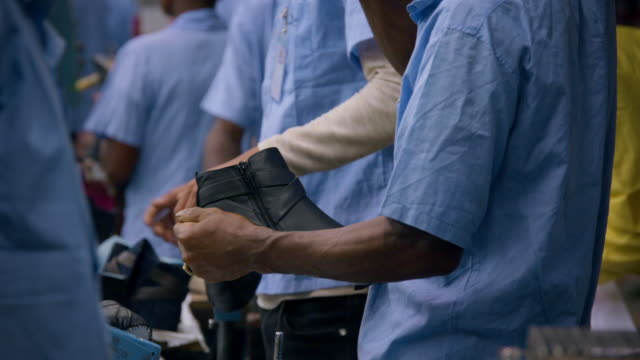 cus in a shoe-making factory, ethiopia - manufacturing stock videos & royalty-free footage