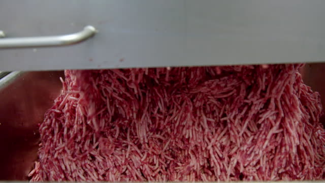 cus minced beef in a factory - apron stock videos & royalty-free footage