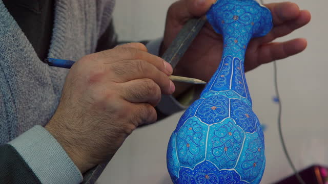 cus minikari painting applied to vases in workshop - ornate stock videos & royalty-free footage