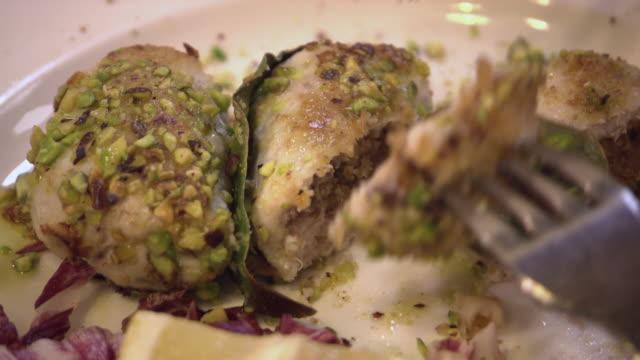 "cus swordfish involtini being eaten, sicily - ""bbc universal"" video stock e b–roll"