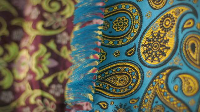 cus termeh fabric, iran - textile stock videos & royalty-free footage