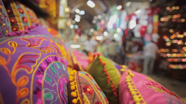 cu cushions for sale in grand bazaar, istanbul, turkey - grand bazaar istanbul stock videos and b-roll footage