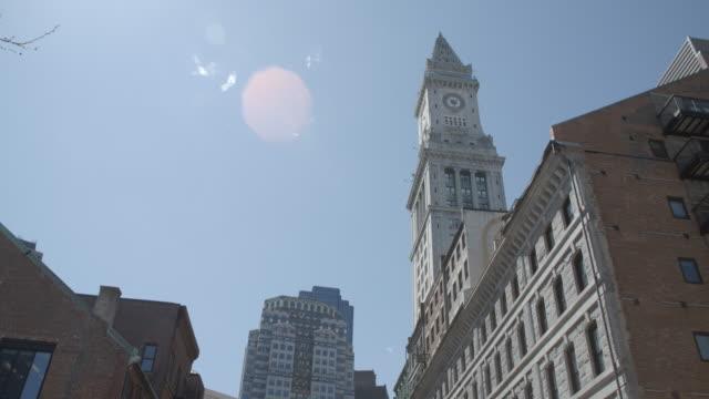 custom house clock tower & street level / boston - custom house tower stock videos & royalty-free footage