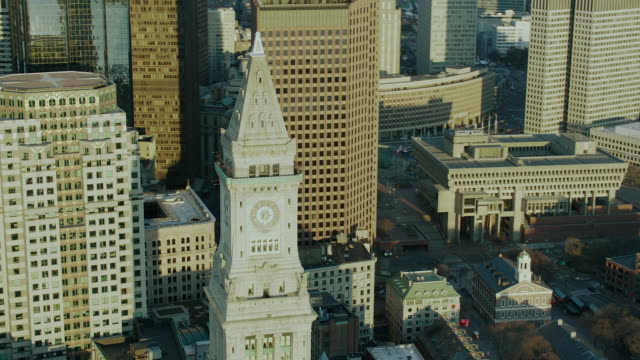 custom house tower in boston massachusetts - custom house tower stock videos & royalty-free footage