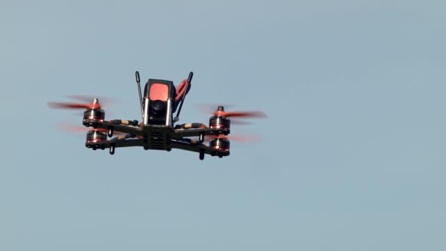 Custom-built race drone in flight