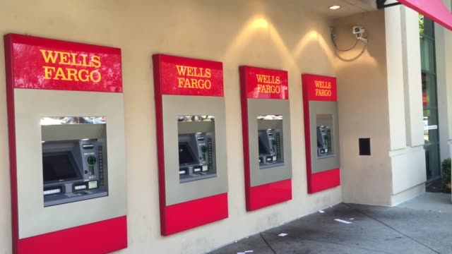 customer exits wells fargo branch in san bruno calif customer exits wells fargo branch in san bruno calif wide shot of west side of wells fargo... - wells fargo stock videos and b-roll footage