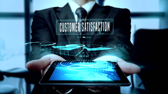 customer satisfaction online-offline services reward concept businessman using hologram tablet technology - loop - touch sensitive stock videos & royalty-free footage
