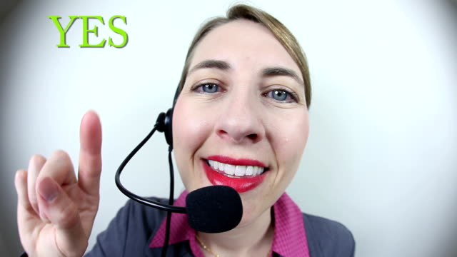 customer service representative pressing yes and no buttons - fish eye lens stock videos & royalty-free footage