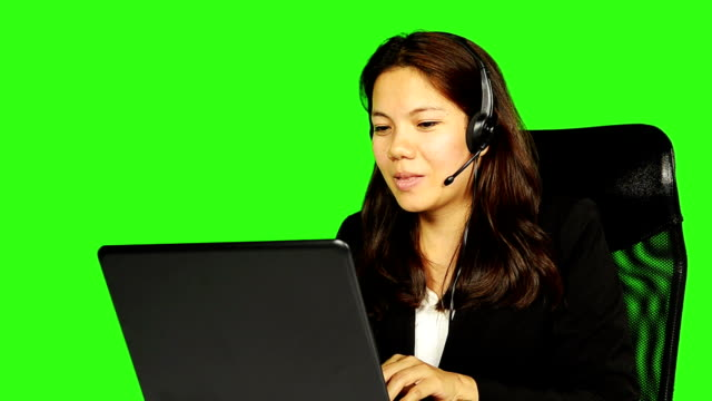 customer service with green screen background - keyable stock videos & royalty-free footage