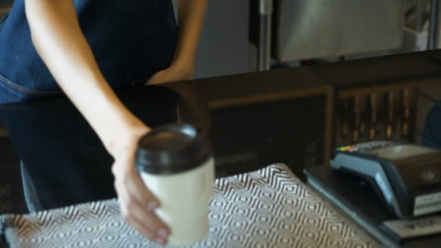 customer using e-payment with mobile - coffee cup stock videos & royalty-free footage