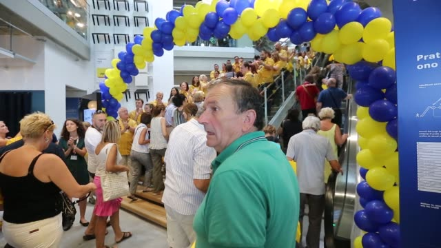 customers are applauded by employees as they enter the store on the opening day of ikea of sweden ab's first department store in belgrade serbia on... - tag 1 stock-videos und b-roll-filmmaterial