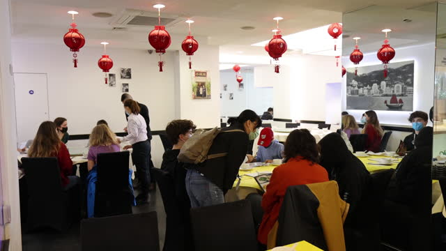 customers at tables at reopened chinese restaurant in chinatown, london, uk, on monday, may 17, 2021. - new normal concept stock videos & royalty-free footage