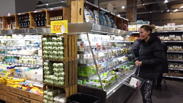 customers browse some of the vegan products available in a branch of the planet organic healthfood store on january 03, 2020 in london, england.... - last stock videos & royalty-free footage