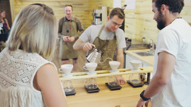 customers chat with barista - portland oregon house stock videos & royalty-free footage